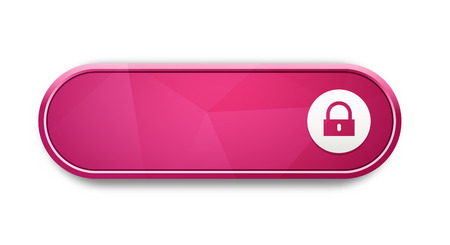 the blank glossy pink button with lock pictogram Vector