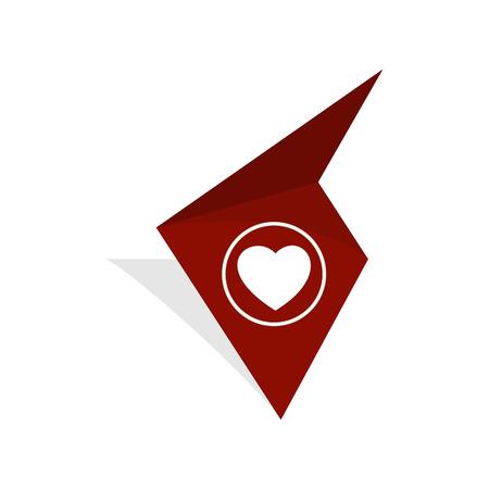 la etiqueta de color marrón con blanco pictograma corazón