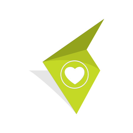 the green tag with white heart pictogram