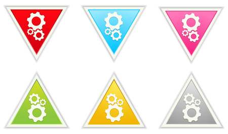 The glossy color triangle gear icons Vector