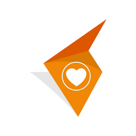 the orange tag with white heart pictogram