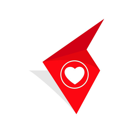 the red tag with white heart pictogram Illustration