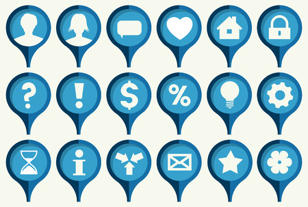 the collection of blue pins with common web icons Vector