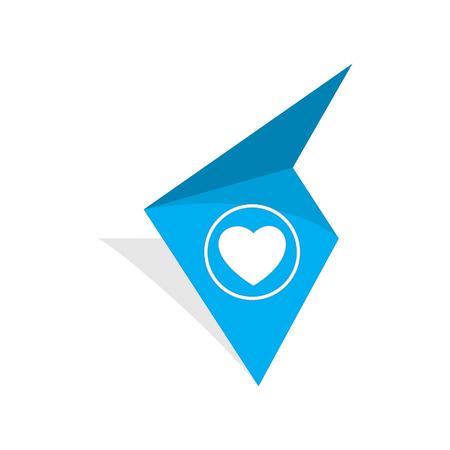 la etiqueta azul con blanco pictograma corazón