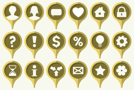 the collection of green pins with common web icons Vector