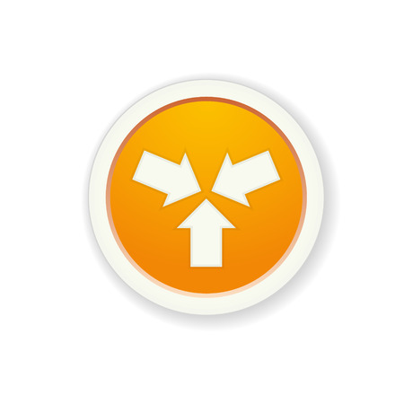 the glossy orange button with start up icon Vector
