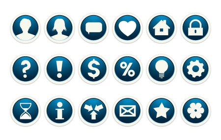 the collection of blue buttons with common web icons Vector