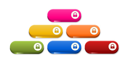 the set of glossy color buttons with lock pictogram Vector