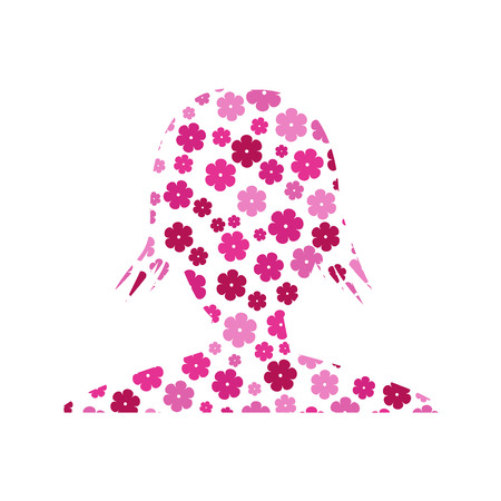 catchy: the silhouette of woman head with flower pattern