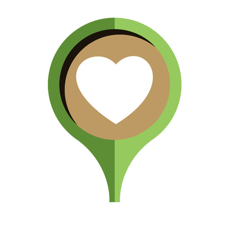 passion ecology: the pin with heart pictogram Illustration