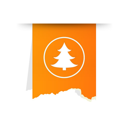 tattered: The orange tattered label with tree icon