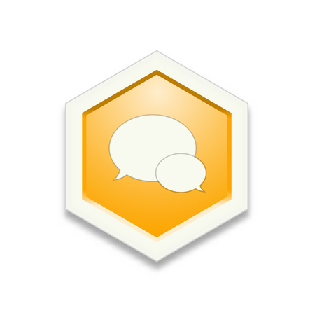 contemplation: the illustration of yellow hexagon shape with speech bubbles pictogram  the chat icon  the communication sign Illustration