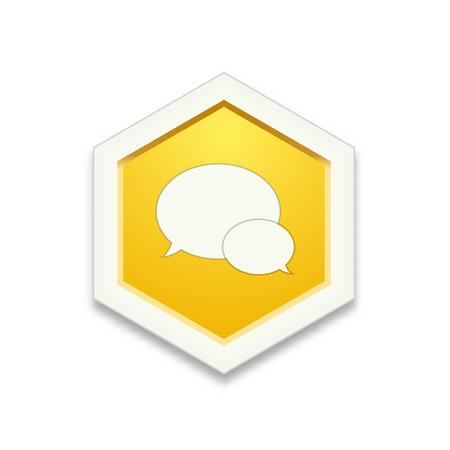 the illustration of yellow hexagon shape with speech bubbles pictogram Ilustração