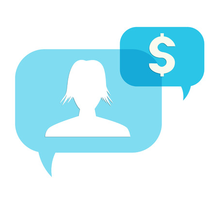 the illustration of two blue overlapping speech bubbles with head silhouette and dollar pictogram Ilustração
