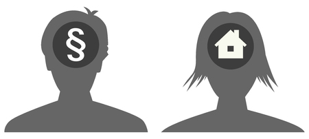 the female and male head silhouette with icon Ilustração