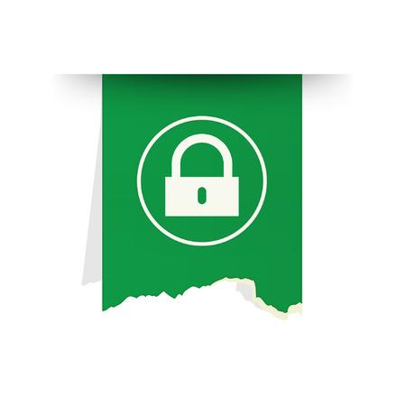 the green tattered label with lock pictogram Ilustração