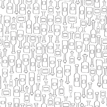 the seamless background made out of bottle sketches Illustration