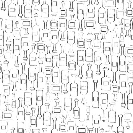 the seamless background made out of bottle sketches Ilustração