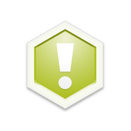 The green hexagon label with exclamation mark Ilustração