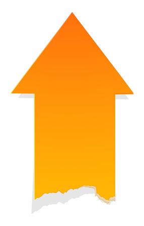 The orange arrow with tattered edge / The blank up arrow