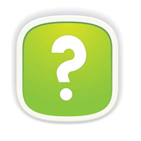 the illustration of question mark icon / the green button with pictogram / the question mark