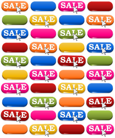 The seamless colorful background made out of press buttons with sale sign and white pointer Ilustração