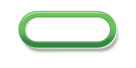 The green glossy badge with empty space for your text
