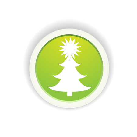 the circle button with noel tree pictogram