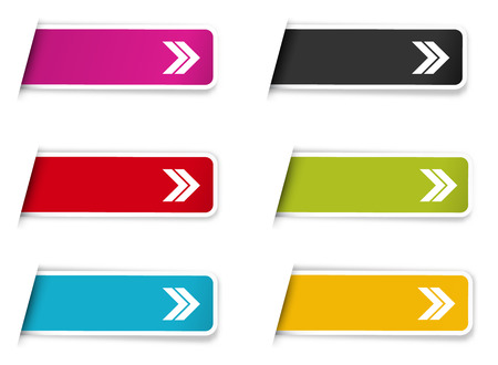 The collection of labels with arrow pictogram on plain background.