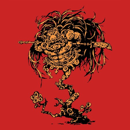 A CHINESE DEMON, GRIPPING HALBERDS, RUSHES INTO BATTLE, LEAPING FROM TREE TO TREE Stock Vector - 27564140