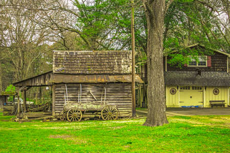 Old rustic style barn and shed in the country background Stone Mountain, Ga / USA