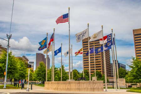 Atlanta, Ga USA 06 07 20: Downtown Atlanta Liberty Plaza and flags Redactioneel