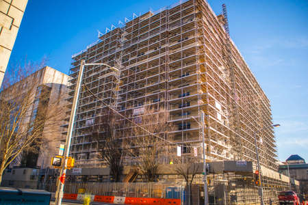 Atlanta, Ga USA 03 07 20: Downtown building scaffolding on a construction site