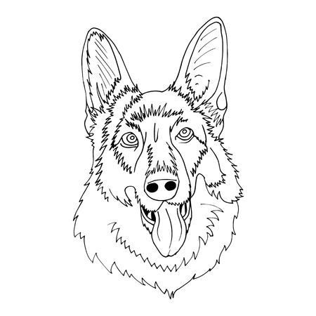 gelukkige herdershond hoofd vectorillustratie.