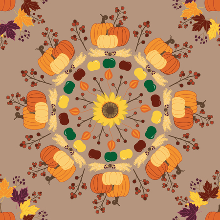 Vector seamless repeat pattern fall mandala with pumpkins, berries, acorns, sunflowers, maple leaves and more. Great for home decor, fabric, paper, and more. Surface pattern design