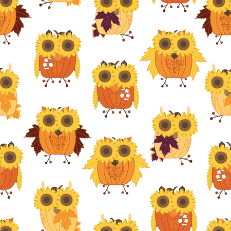 Vector seamless repeat pattern fall owls made with pumpkins leaves acorns wheat flowers sunflowers and more. Great for kids clothing, tableware, fabric, scrapbooking. surface pattern design. Imagens - 107194478