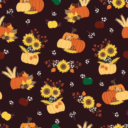 Vector seamless repeat pattern sunflowers pumpkins apples flowers on dark purple background. Great for fall themed home decor, thanksgiving, halloween fabric, paper and more. Surface pattern design.