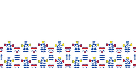 seamless half drop repeat border pattern with nordic flowers in blue yellow and red. Great for fabric, paper products, home decor, fashion, and more.