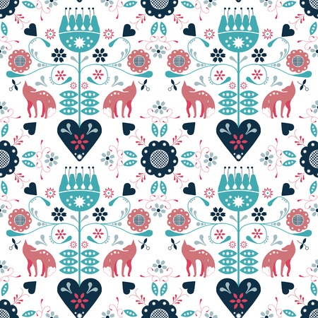 Seamless repeat pattern nordic folk art with fox and hearts and flowers