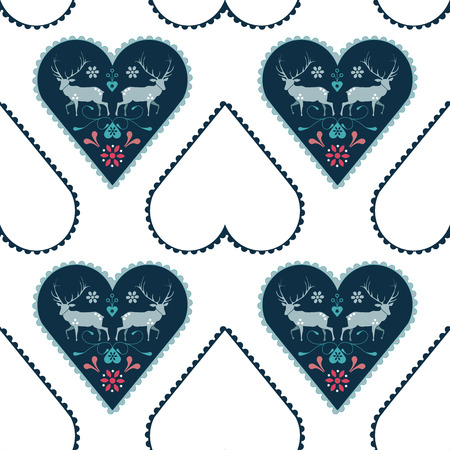 Seamless repeat pattern nordic folk art elk with hearts and flowers