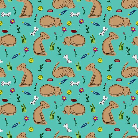 Doodle dog seamless repeat pattern on teal background