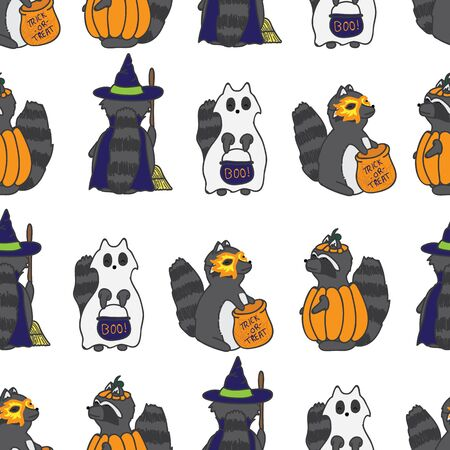 Seamless repeat pattern halloween raccoon in ghost, pumpkin, witch and mask costumes great for halloween party decor and paper products, fabric, costumes, kids clothes, and more