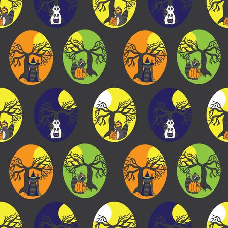 seamless repeat pattern halloween raccoons in costumes with tree and moon on dark grey. Great for halloween costumes, fabric, party decor and more. Stock Photo