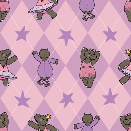 Delilah the dancing hippo seamless repeat pattern on an argyle background. Great for kids clothes, nursery room decore, wallpaper, and more.