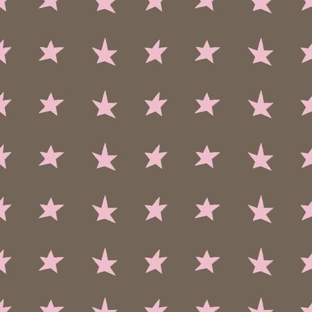 Pink stars on brown background. Great for a coordinate print for kids clothing, paper products, home decor, and more. 스톡 콘텐츠