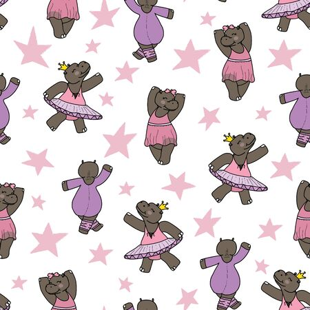 Delilah the dancing hippo seamless repeat pattern. Great for kids clothing, babys room decor, fabric, and more