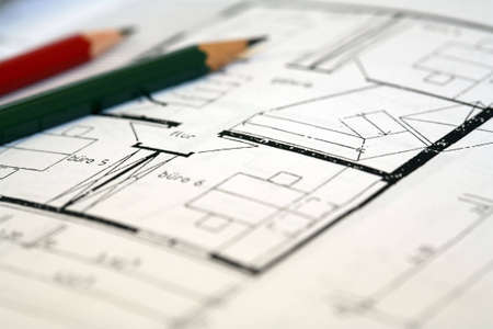 reg: A pencil and a floorplan Stock Photo