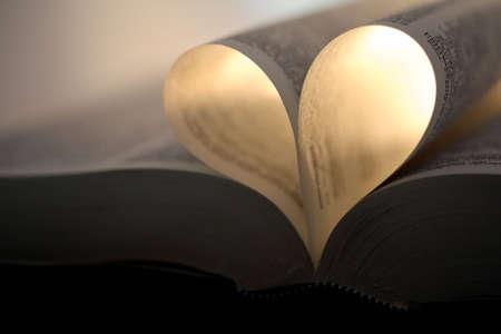 carta de amor: Libro de amor con un coraz�n  Foto de archivo