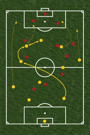 combination: Footballfield as a illustration  image combination Stock Photo