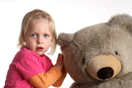 cuddly: cuddly toy and little child